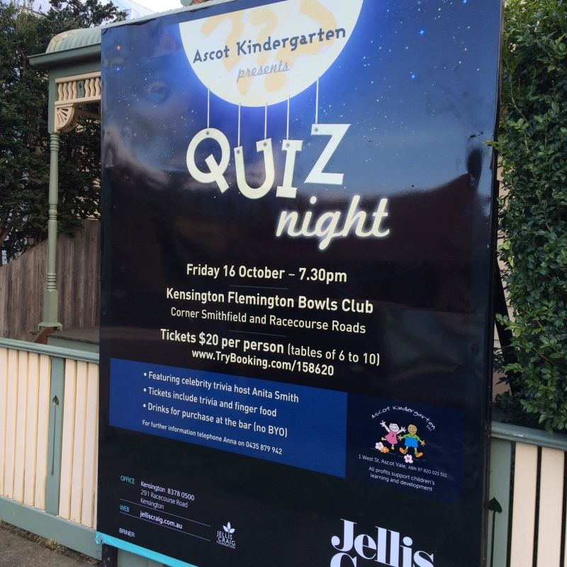 Promotional material for Ascot Kindergarten quiz night